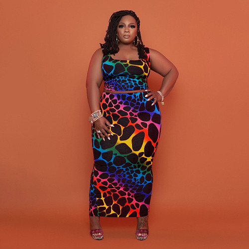 Plus Size African Ladies Sleeveless Crop Tops Bodycon Ankle Length Skirt Elegant Club Wear Two Piece Set OSS-21107