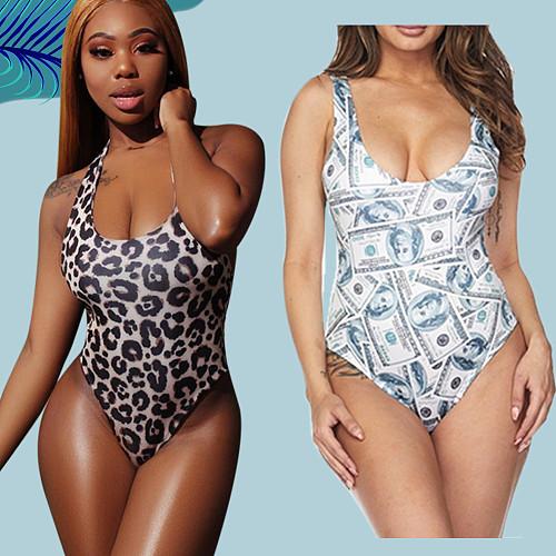 Hot Sell Monokini Print Swimwear Summer Women Clothing Sleeveless Plus Size One Piece Swimsuit AIL-024