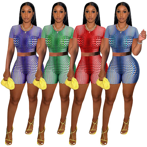 Summer Fitness Set Women Gmy Clothing Short Sleeves Crop Top High Waist Shorts Two Piece Outfits TE-4310