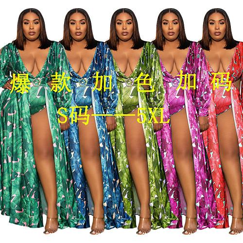 Summer Printed Women Hollow Out Split Bohemian Holiday Vintage Plus Size Long Maxi Beach Dress XQY-1581