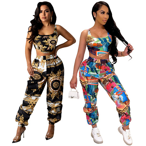 Women Clothing Sleeveless Bodycon Print Crop Top Full Pants Clubwear Sexy Summer Outfits 2 Piece Sets TE-4284