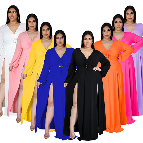 Summer Women's Clothing Solid Color Elastic Waist Long Sleeve Bodycon A Line Plus Size Maxi Dress YIF-1583