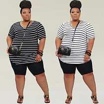 Plus Size Clothing Striped Short Sleeve V Neck T Shirt Bodycon Shorts Women Summer 2 Piece Set HZM-77215
