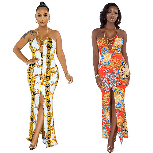 Women Summer Hot Printed Halter Bandage Backless Front Slit 2021 Sexy Bohemian Maxi Long Dress YF-9923