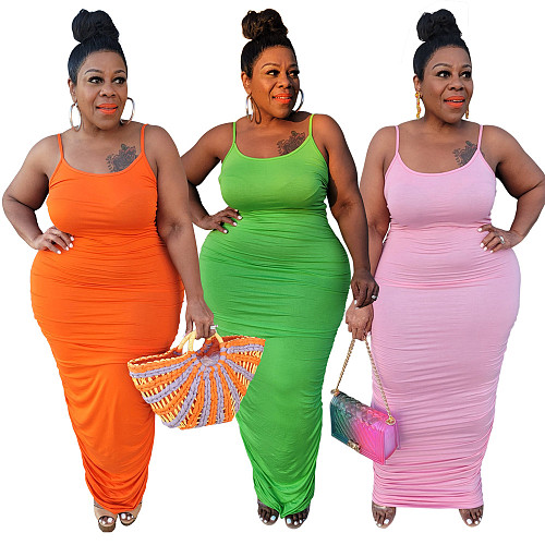 Plus Size Solid Color Spaghetti Straps Ruched Slim Fit Beach Party Bodycon Women Long Dress XQY-1584