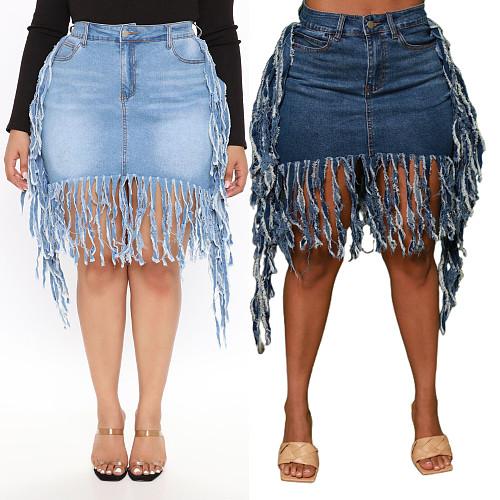 Fashion Streetwear Summer Ripped Tassel Zipper Pockets Stretchy High Waists Women Denim Mini Skirt LX-3501