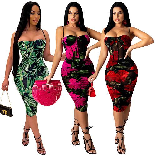 Summer Sleeveless Floral Print Spaghetti Straps Women Ruched Bodycon Beach Club Party Midi Dress YF-9924