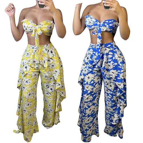 Sexy Women Printed Boho Bow Lace Up Crop Tops High Waist Side Ruffled Wide Leg Pants 2 Piece Set YF-9922