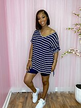 Women Striped Clothes V-Neck Short Sleeve T-Shirt Skinny Shorts Outdoor Homewear Summer 2 Piece Set WM-2526