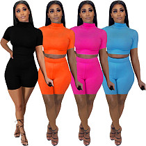 Summer 2021 Women Casual Solid O-Neck Short Sleeve Crop Tops Sporty Shorts Fitness 2 Piece Sets FNN-8622
