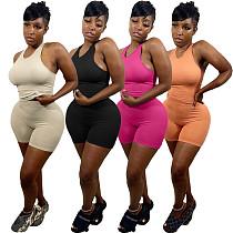 Women Fashion Clothes Sportswear Sleeveless Vest Top Biker Shorts Sexy Summer Fitness Two Piece Set NIYA-8075