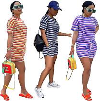 2021 New Style Women's Summer Stripe Short Sleeve O Neck T Shirts Shorts Two-Piece Leisure Wear Set NIYA-8077
