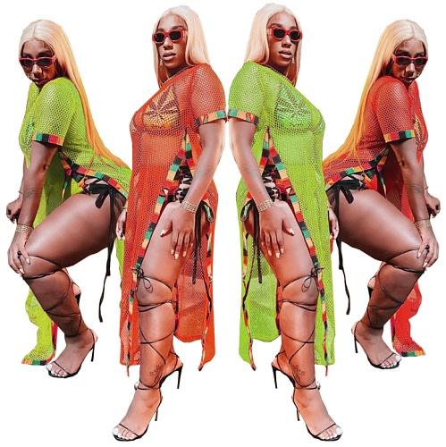Women Summer See Through Cover-Ups Mesh Patchwork Beach Holiday O Neck Short Sleeve Maxi Dress BONN-9636