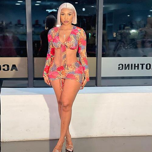 Women Sexy Print Bikini Long Sleeve Swimwear String Low Waist Bathing Suit Cover Up 4 Piece Set XSH-60011