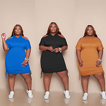 Casual Solid Color Plus Size Lotus Leaf Collar Short Sleeve Drawstring Loose Fit Women Midi Dress MUC-054