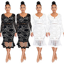 Summer Fashion Small V-Neck Long Sleeves Lace See Through Patchwork Fishtail Women Midi Dress ME-920
