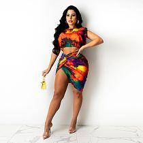 Fashion Tie Dye Print Women's Round Neck Sleeveless Crop Top Irregular Skirt Summer 2 Piece Set HGL-1670