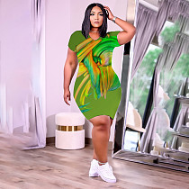 Plus Size Women Clothing Printed V-Neck Casual Summer Short Sleeve Slim T Shirt Midi Dress HB-4037