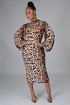 Sexy Leopard Print Long Sleeve Mini Cover Up Crop Top Spaghetti Strap Long Dress Women 2 Piece Set PIN-8607