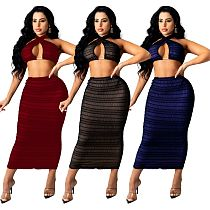 Summer Sexy Solid See Through Pleated Cross Wrap Halter Backless Crop Top Skirt Club Two Piece Set OSM-4350
