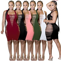 Women Solid Color Sleeveless Summer Hollow Out Hole Vacation Outfits Bodycon Club Party Midi Dress MZ-0118