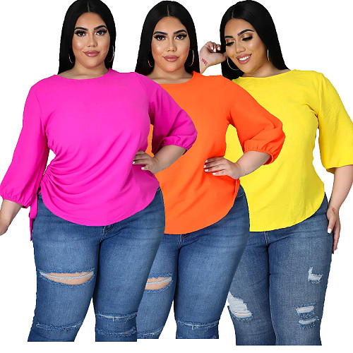 Women Casual Solid Color 3/4 Sleeve O Neck Irregular Plus Size Loose Fitting Summer T-Shirt Tops SFY-2115