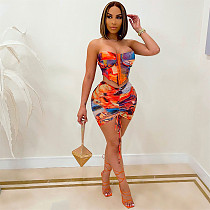 Summer Outfits Sexy Tie Dye Bodycon Crop Corset Top Ruched Mini Skirt Club Party Two Piece Set XQY-9068