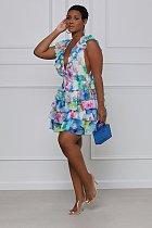 Women Deep V-Neck Summer Ruffle Sleeve Floral Print Irregular Patchwork A Line Party Club Midi Dress SMX-9626