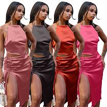 Elegant Women Solid Color Halter Crop Top Drawstring Ruched Split Skirt Club Party Two Piece Set MIL-257