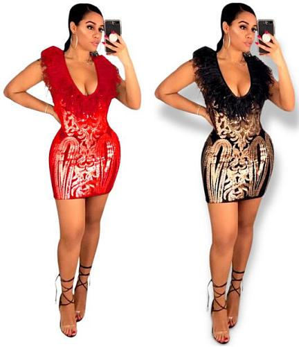 Sexy Package Hips Feather Plus Size Mini Sequin Dress OSS-19508