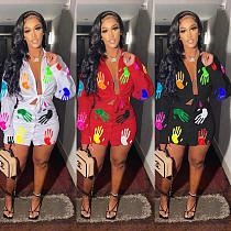 Women Fashion Print Long Sleeve Bandage Lace Up Shirt Button Mini Skirt Skinny Clubwear 2 Piece Set MAE-2105