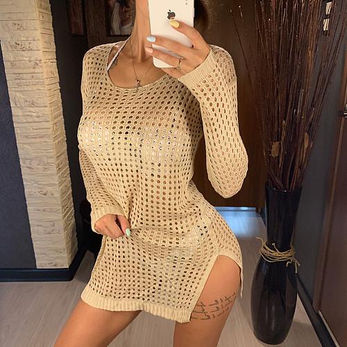 Sexy Solid Crochet Fishnet Hollow Out Mesh Bikini Long Sleeve Boho Beachwear Cover Up Mini Dress OYW-20411
