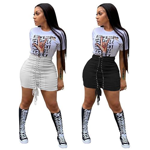 Fashion Women Summer High Waist Eyelet Lace Up Bandage Streetwear Bodycon Mini Pencil Skirts BNY-7195