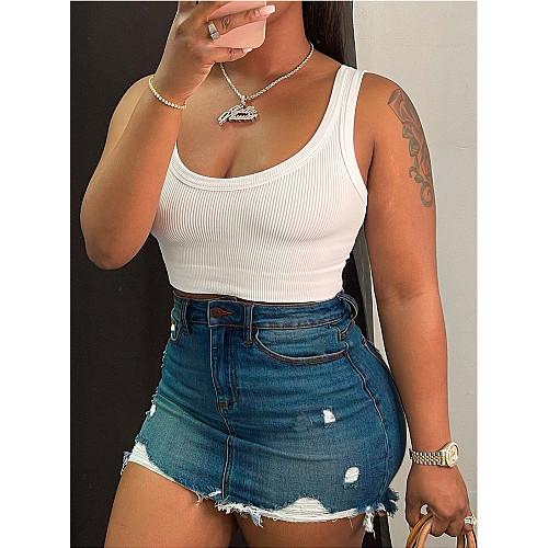 Casual Mid Waist Frayed Hem Pocket Women Ripped Bag Hip Summer Streetwear Mini Denim Skirt CN-0154