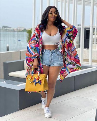 Autumn 2021 Fashion Pattern Print Elegant Loose Lantern Long Sleeves Women Street Wear Long Coat LSD-81022