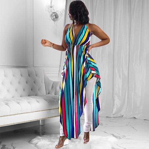 2021 Women Halter Neck Backless Rainbow Striped Print Summer Irregular Boho Long Maxi Top YD-8211