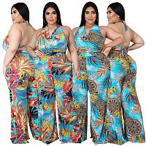 Plus Size Women's Fashion Loose Casual V Neck Print Backless Boho Halter Wide Leg Summer Jumpsuits ASL-7037