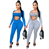 2021 Autumn Clothing Hollow Out Long Sleeve Letter Print Bodycon Activewear One Piece Womens Jumpsuit YMT-6225
