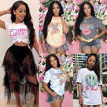 Summer Women's Clothing Fashion Pattern Print Short Sleeve Round Neck Streetwear Soft Tee Shirt FSX-280