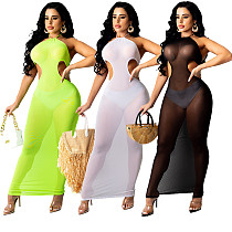 2021 Summer Sexy Solid Color Mesh See Through Halter Hollow Out Backless Bodycon Club Maxi Dress SD-26125