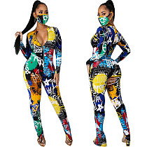 Women Autumn Clothing Digital Print Long Sleeve Front Zipper Bodycon Fitness One Piece Jumpsuit SMR-10591