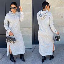 2021 Autumn Solid Color Warm Long Sleeve Hooded Casual Hoodies Long Sweatshirt Maxi Dresses ORY-5201