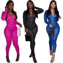 Sexy See Through Mesh Print Women Front Zipper O-Neck Long Sleeve Nightclub Party Bodycon Jumpsuit NIYA-8080
