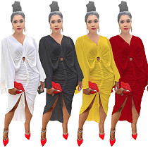 2021 New Summer Fashion Solid Color Slim Waist Flying Sleeve V Collar Vintage Woman Pleated Maxi Dress JC-7067