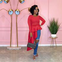 2021 Autumn Women Party Clothes Solid Color Bodycon Long Sleeve O Neck Irregular Ruffle Tops Blouse FSX-290