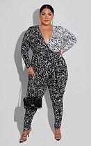 Graffiti Printing Hipster Women Sexy Deep V Neck Long Sleeve Streetwear Plus Size One Piece Jumpsuits FSX-282