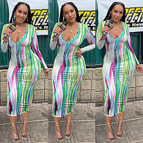 2021 Sexy Women Tie Dye Striped Print Long Sleeve Deep V-Neck Autumn Bodycon Long Maxi Dress MEY-20768
