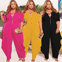 Plus Size Casual Women Summer Solid Color Half Sleeve Zipper O Neck Loose Harlan Jumpsuit LP-66305