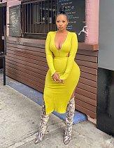 Elegant 2021 Autumn Clothes Solid Hollow Out Women Long Sleeve Sides Slit Bodycon Club Maxi Dress LP-66309