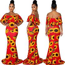 Fashion Sunflower Print Off Shoulder Women Strapless Slash Neck Casual Vacation Long Maxi Dresses SMR-10543